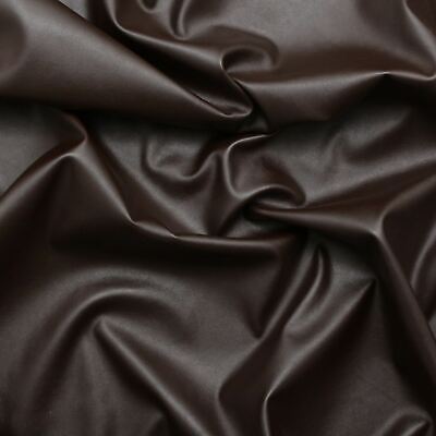 1 Meter Brown Stretch Faux Leather Upholstery Thick Fabric Backing 140 Cm Width • 7£