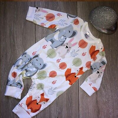 Baby Jumpsuit Romper, Elephant And Fox Print • 9.50£
