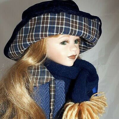 $ CDN45.99 • Buy Vintage Victorian Style Porcelain Doll In Period Attire Blue Coat Dress Hat 18