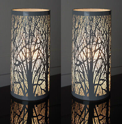 New Pair Of Two Grey Tree Scene Cylinder Table Lamp Lights Bedside Bedroom 2 • 44.95£