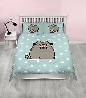 Pusheen Cat Cute Double Duvet Cover Set Reversible Pink Green Doughnut Donut • 10£