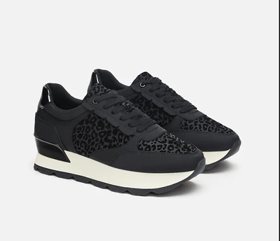 AU5 • Buy Zara Black Leopard Sneakers 38 - Worn Only Twice