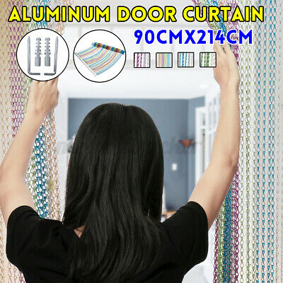 Metal Aluminum Door Chain Fly Pest Insect Screen Curtain Control 214cm X 90cm  • 37.72£