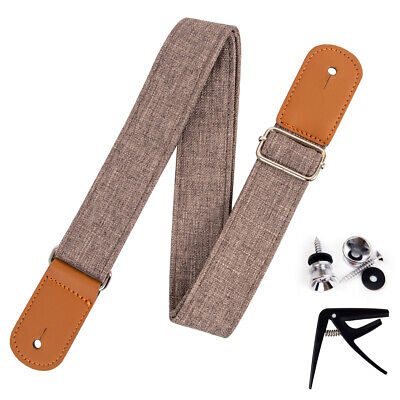 AU16.99 • Buy Ukulele Strap Linen Style Adjustable Length Leather Straps With Strap Locks Capo