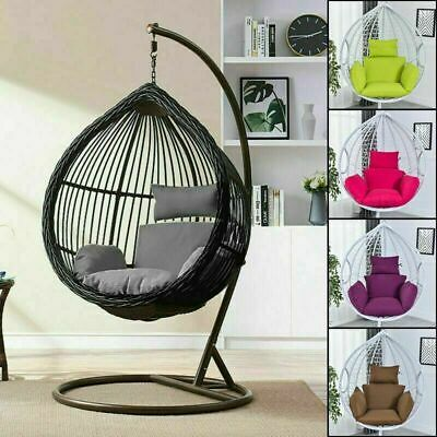 Swing Hanging Egg Rattan Chair Outdoor Garden Patio Hammock Stand Porch Cushions • 53.67£