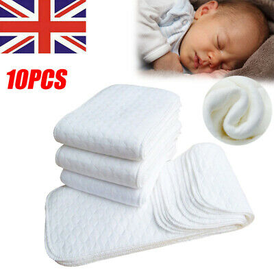 View Details 10X Baby Cloth Diaper Nappy Liners Insert 3 Layers Cotton Washable Reusable UK • 4.99£