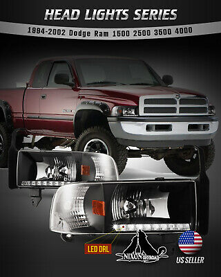 $102.99 • Buy For 94-02 Dodge Ram 1500 2500 3500 Headlights LED DRL Front Lamp Black/Clear