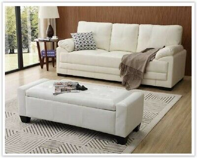 White End Bed Bench Storage Window Chaise Lounge Seat Hallway Furniture Bedroom • 69.90£