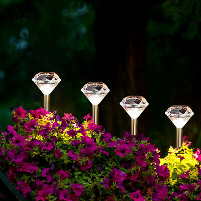 12 X Solar Powered LED Diamond Stake Lights Garden Patio Outdoor Path Lamp Decor • 20.95£