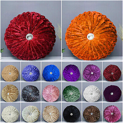 Crushed Velvet Diamond Cushions Large & Small Round Filled Cushion Sofa Pillows • 12.95£