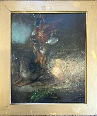 19th Century Hunting Dog With Game Oil On Canvas  • 85£
