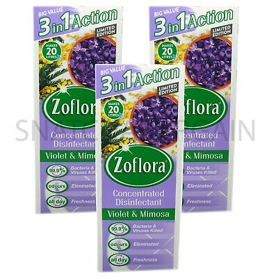 3 X ZOFLORA CONCENTRATED DISINFECTANT VIOLET & MIMOSA 500ml LIMITED EDITION • 17.90£