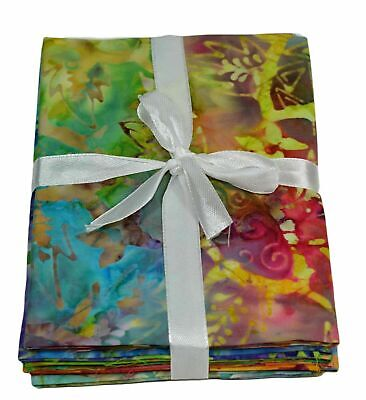 Printed Premium Batik Fat Quarter Bundles 100% Cotton Quilting Craft Fabric 5 FQ • 10.99£