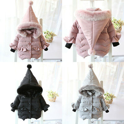 Girls Baby Kids Hooded Padded Warm Coat Jacket Outerwear Down Cotton Parka Coats • 18.85£