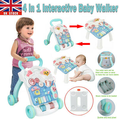 4 In 1 Baby Walker First Steps Bouncer Push Along Mobility Toys Musical Walking • 23.86£