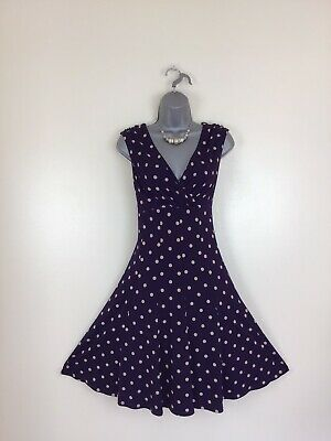 Jessica Howard Size 12 To 14  Purple & Beige Spotted  Fit & Flare Dress 🌺 • 12.99£