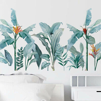 Removable Wall Stickers Tropical Plants Foliage Leaves Flowers Wall Decor DIY • 5.41£