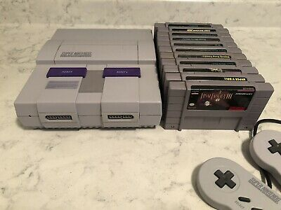$ CDN112.50 • Buy Official Super Nintendo Lot SNES Console, 2 Controllers, 11 Games, 9 Dust Covers