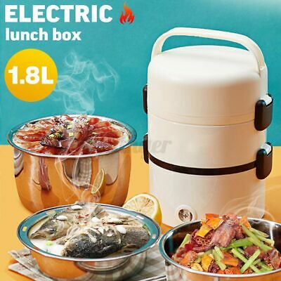 AU27.69 • Buy Portable Electric Lunch Box 3-layer Heating Steamer Rice Cooker Warmer Steamer