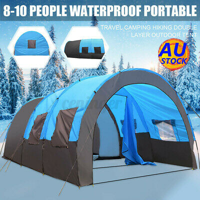 AU185.99 • Buy AUS 8-10 People Large Waterproof Travel Camping Hiking Double Layer Outdoor Tent