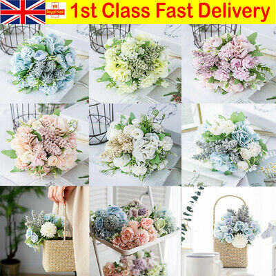 Real Touch Artificial Silk Flowers Bridal Wedding Bouquet Home Party Decorations • 7.69£