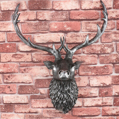 Large Wall Mounted Deer Head Animal Head Stag Head Large Silver Stag Wall Art UK • 17.99£