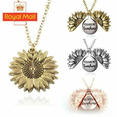 You Are My Sunshine  Open Locket Sunflower Pendant Necklace Women's Gift UK • 3.29£