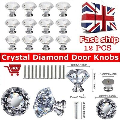 12PCS Crystal Diamond Glass Door Knobs- Cupboard Drawer Cabinet Furniture Handle • 7.97£