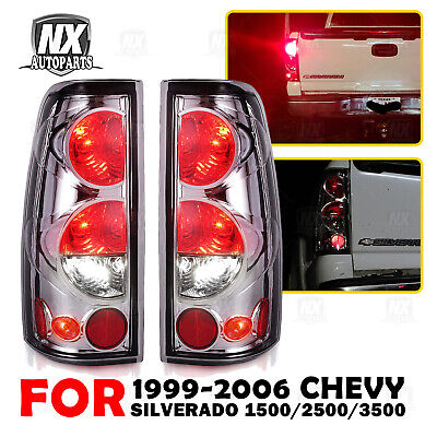 $50.18 • Buy For 99-06 Chevy Silverado 99-02 GMC Sierra Tail Lights Chrome Clear Pair Lamps