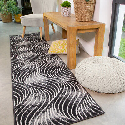 Funky Black Runner Rug Small Large Rugs For Living Room Soft Wave Hall Runners • 12.95£