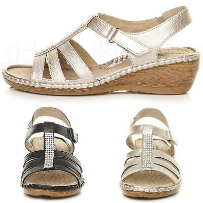 Womens Ladies Mid Low Wedge Diamante T-bar Gladiator Strappy Comfort Sandals • 16.99£
