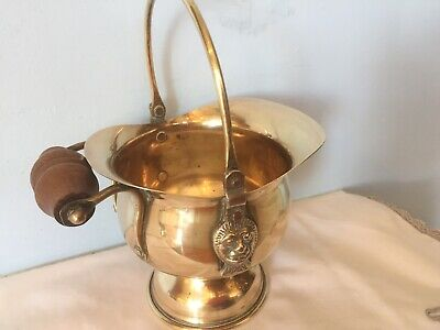 Nice Small Solid Brass  Coal Scuttle Planter Helmet Bucket With Wooden Handle • 5£