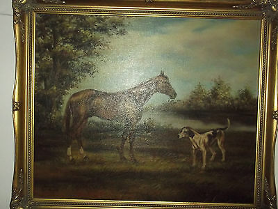 Oil Painting On Canvas Hunting ~ Hunt Horse & Fox Hound ~ Signed ~ Fox Hunting • 474.99£