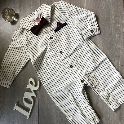 £6.95 • Buy Baby Boy Shirt Romper With Bow Tie