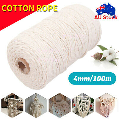 AU13.68 • Buy 100m 100% Natural Cotton String Twisted Cord Beige Craft Macrame Artisan 4mm AU