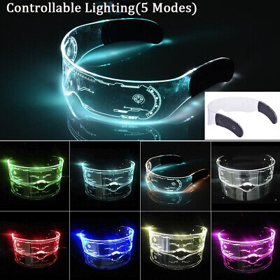 Halloween LED Visor Glasses Lumious Neon Nightlife Light Up Goggles Party UK • 8.93£