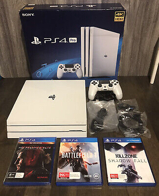 AU350 • Buy Sony PlayStation 4 PRO 1TB. Console With Controller, Cables, Earpiece & 3 Games.