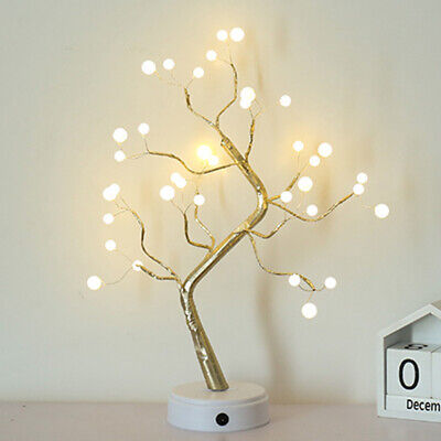 UK LED Pearl Blossom Tree Bonsai Light Table Bedside Lamp Room Party Decor Gifts • 14.18£