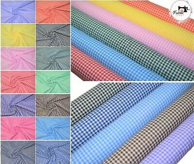 £3.95 • Buy Premium Printed PolyCotton Fabric, Gingham 1/4  Print, 44  Wide, 15 Colours