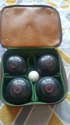 ALMARK CLUBMASTER 6 Bowls. Set Of 4.  Heavy With Jack  Plus Leather Carry Bag. • 32.99£
