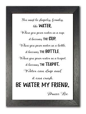 £19.99 • Buy Bruce Lee Be Water Full Kung Fu Famous Inspiration Quote White Motivation Poster