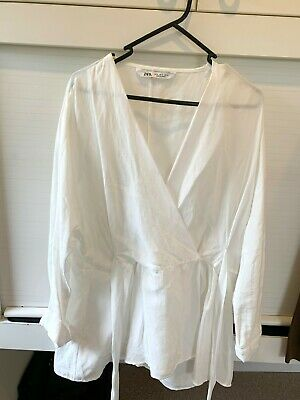 AU6.50 • Buy Zara White Linen Tie Wrap Shirt M