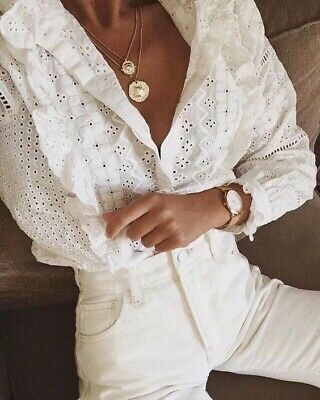 AU33 • Buy Zara White Broderie 100% Cotton Size S Suits 8 10 Blouse Top Blogger Favourite