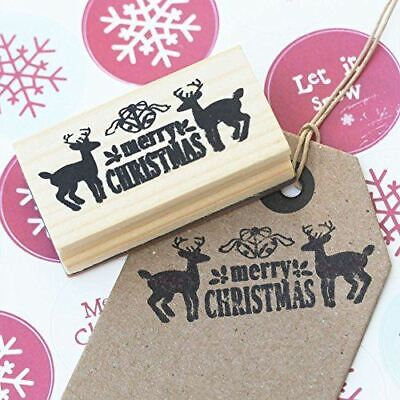 £4.50 • Buy Merry Christmas Design With Deers Wooden Rubber Craft Stamp Xmas