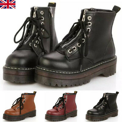 Womens Ladies Zip Creepers Chunky Cleated Platform Goth Punk Ankle Boots ShoesUK • 26.86£