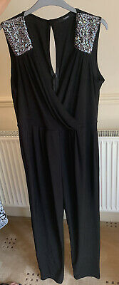 Black Smart Jumpsuit With Silver Beading Size 14 Worn Once • 3.50£