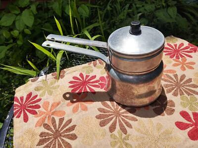 $12.95 • Buy Vintage  Aluminum Double Boiler / Sauce Pan With Lid Mid Century Retro Cooking