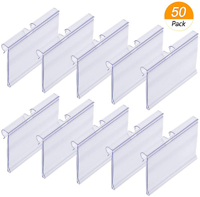 50x Clear Plastic Label Holders Wire Shelf Retail Price Label Merchandise Sign • 13.99£