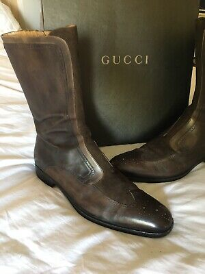 Gucci Mens Brown Leather And Suede Boots Size 44 • 75£
