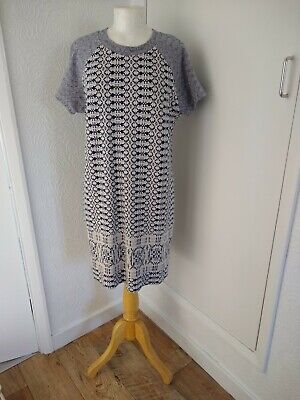 NWOT :: Fab Hobbs NW3 Navy And Cream Jacquard Tunic Dress : Size 12 Cotton Mix  • 19.99£